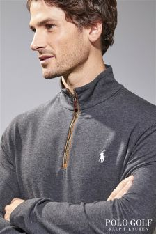 Ralph Lauren Golf Dark Grey Long Sleeve Half Zip Jumper
