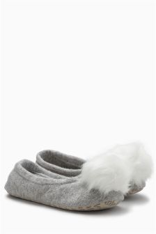 Pom Knit Ballet Slippers