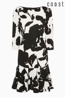 Coast Black/White Danni Frill Hem Print Dress