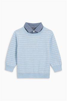 Stripe Mock Shirt (3mths-6yrs)