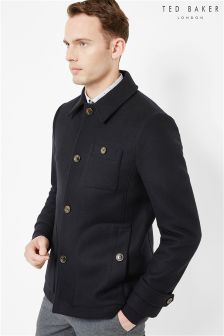 Ted Baker Navy Curved Pocket Overcoat