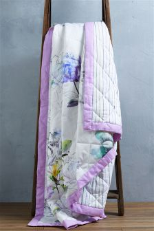 Bright Floral Cotton Sateen Throw