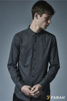 Farah Grey Slim Fit Twill Shirt