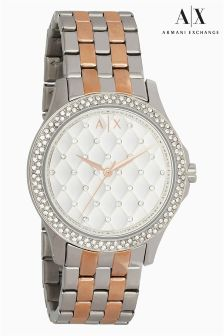 Armani Exchange Silver/Rose Gold Two Tone Quilted Dial Watch