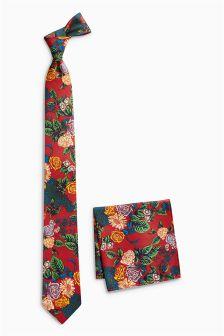 Floral Print Tie And Pocket Square Set