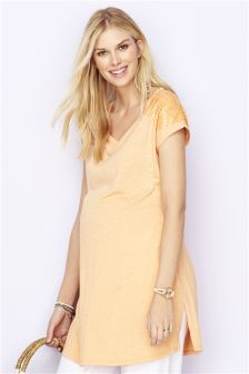 Maternity Sequin Shoulder Tee