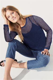 Long Sleeve Mesh Layer Top