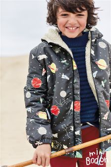 Boden Dark Grey Space Print Sherpa Lined Anorak