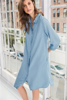 Long Sleeve Tencel® Shirt Dress