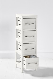 White Wooden Slat 4 Drawer Unit