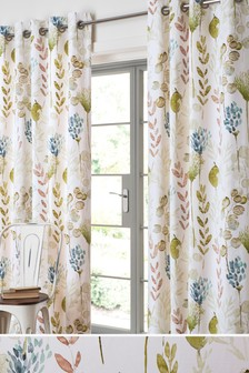 Still Life Watercolour Leaf Eyelet Curtains