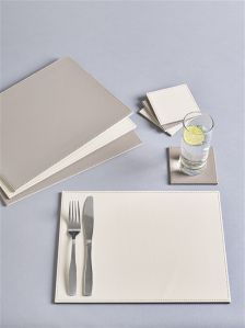 Set Of 8 Faux Leather Placemats And Coasters