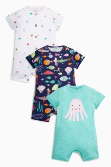 Jellyfish Short Legged Romper Three Pack (0mths-2yrs)