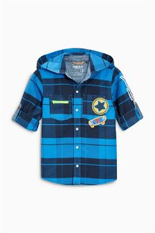 Blue Check Badge Hooded Shirt (3mths-6yrs)