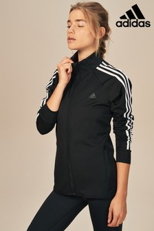 adidas Black 3 Stripe Track Top