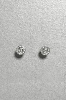 Diamanté Disc Earrings