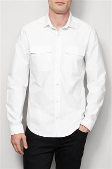 Long Sleeve Twin Pocket Oxford Shirt