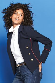 Military Contrast Piped Blazer