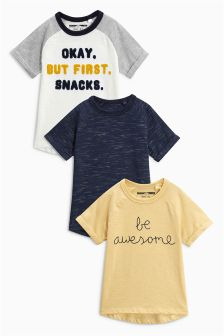 Slogan Raglan Short Sleeve T-Shirts Three Pack (3mths-6yrs)