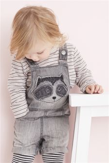 Raccoon Appliqué Dungarees (3mths-6yrs)