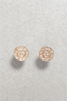 Diamanté Disc Earrings