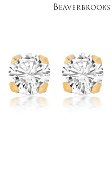 Beaverbrooks 9ct Gold Cubic Zirconia Stud Earrings