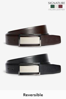 Signature Reversible Plaque Leather Belt