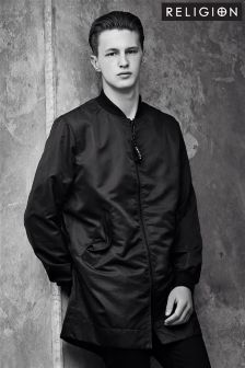 Black Religion Longline Bomber Jacket