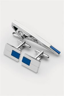 Blue Detail Cufflinks and Tie Clip Set