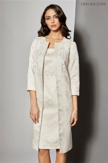 Gina Bacconi Cream Aertex Metallic Jacquard Beaded Coat