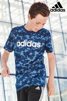 adidas Blue Camo Print T-Shirt