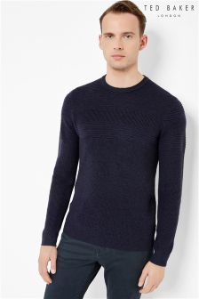 Ted Baker Textured Stripe Crew Neck Jumper