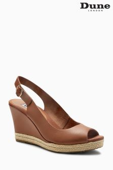 Dune Tan Espadrille Cork Slingback Wedge