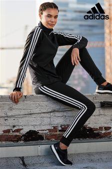 adidas Black 3 Stripe Cuff Jogger