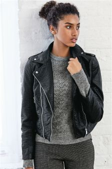 Textured PU Biker Jacket