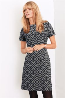 Square Neck Jacquard Dress