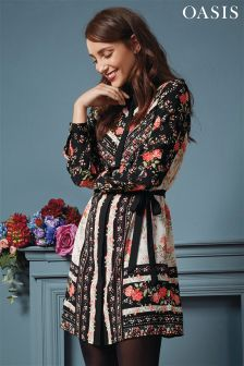 Oasis Black Floral Shirt Dress