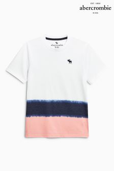 Abercrombie & Fitch White/Navy/Pink Dip Dye T-Shirt