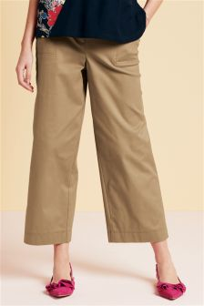 Cotton Twill Cropped Trousers