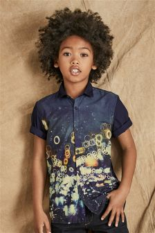 Short Sleeve City Lights Print Shirt (3-16yrs)