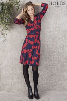 Hobbs Red/Navy Alena Dress