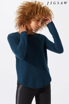 Jigsaw Blue Surrealist Cashmere Jumper