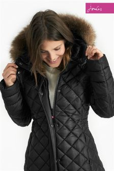 Joules Snowshill Black Fur Trim Longline Padded Jacket