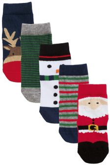 Christmas Socks Five Pack (Younger Boys)