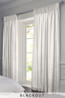White Butterfly Jacquard Pencil Pleat Blackout Curtains