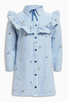 Embroidered Blue Stripe Shirt Dress (3mths-6yrs)