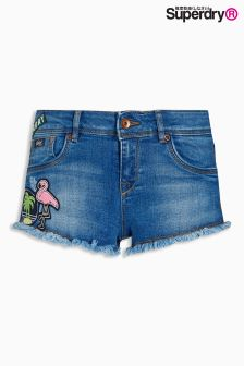Superdry Mid Wash Patches Denim Hot Short