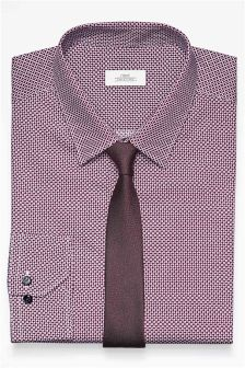 Print Regular Fit Shirt And Tie Set