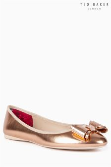 Ted Baker Gold Bow Trim Ballerina Pump