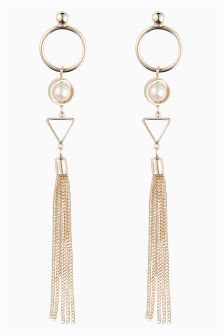 Pearl Effect Geometric Drop Earrings
